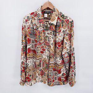 Vintage Patchwork Plaid Paisley Button up Shirt